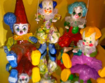 Vintage Penco Clowns 1970's With Great Colors 4 Piece Lot  ******1970's**********