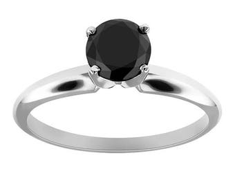 certified 1.00 ct round cut solitaire black diamond engagement Ring 14k white gold  hand made