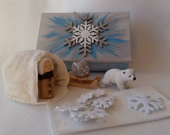 Winter in a Box. Activity Box. Keepsake and counting toy.  Unique. Personalised Gift tag available. Gift wrap included.