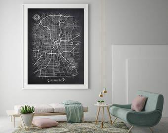 SAN ANTONIO Texas Chalkboard Map Art Black And White San Antonio TX Vintage  City Map Graphic