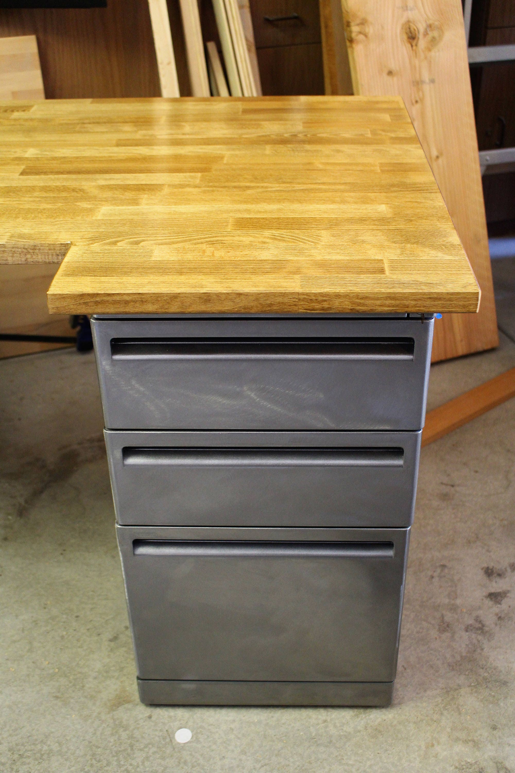 Desk with refinished 2 drawer metal filing cabinet w for Metal desk with wood top