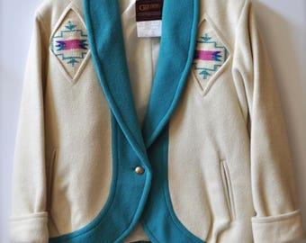 Vintage Pioneer Wear Golden Collection Genuine Chimayo Wool Blanket Ladies Jacket size 12