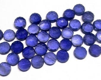 10 pieces 6mm IOLITE RoseCut Round Cabochon Nice Quality Gemstone, Iolite Cabochon Rose Cut Round, Iolite Round Rose cut Cabochon Gemstone