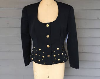90's Black and Gold Scoop Neck Studded Blazer Size 9 10 Medium Button Front Dressy Jacket Evening Jacket Holiday Jacket Party Jacket