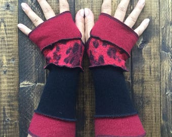 Fingerless Gloves-Made from Recycled Sweaters// Dragon Gauntlets//Arm Warmers