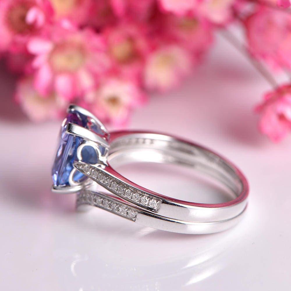 Tanzanite ring set cushion cut tanzanite engagement ring 7x9mm main ...