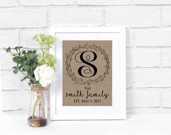 Family Name Signs Established Date- Last Name Sign- Burlap Print- Anniversary Gift- Wedding Gift- Family Established Sign- Monogrammed Gift