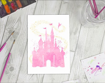 Disney Inspired Watercolour A5 Disney Castle Print | Available in 4 colours