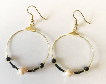 Hoop earrings pink and gold with pearls Miyuki and Swarovski