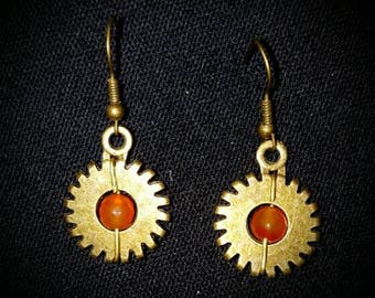 Red gear earrings