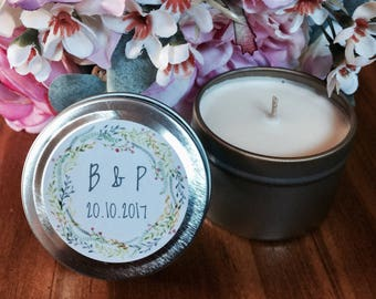 SETS OF 20+ | Natural Soy Candle 2oz Wedding Favour Personalised