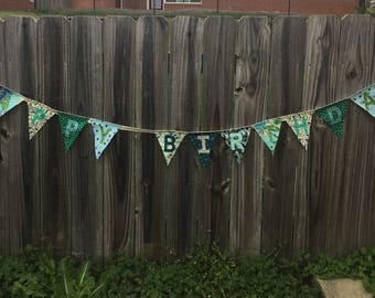 Handmade HAPPY BIRTHDAY Banner - Green & Blue Floral Cotton Prints