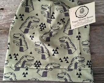 Slouchy baby beanie Hat child dinosaur khaki Green