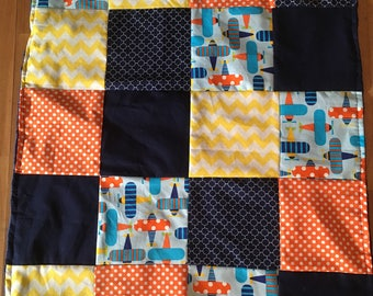 Airplane blanket blanket orange yellow patchwork quilt minky Navy Blue chevron
