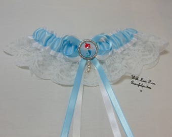 Handmade Little Mermaid lace keepsake bridal wedding Garter. Ariel. Satin/Lace