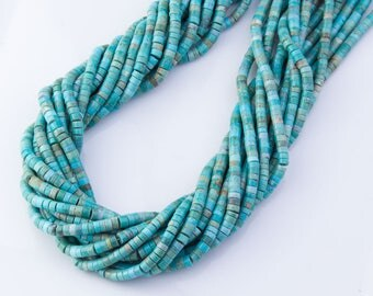 """16"""" Full Strand Natural TURQUOISE Round Disc Beads, Blue Green Brown, Smooth Polished,4-4.5mm x2-3mm, OV4"""