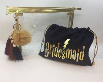 Harry Potter Inspired  Makeup Bags, Custom Gold Trimmed Makeup bags, Bridesmaid Gift, Bridal Shower Gift, Custom Bridesmaid Gift
