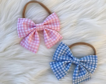 Gingham Sailor Bows | Nylon Headbands | Bow Sets | Bow Bundles | Baby Girl Headbands | Hair Bows | Bows | Baby Girl
