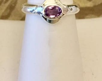 FREE SHIPPING USA Only!! Sterling Silver Amethyst Ring
