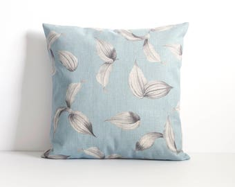 Blue Flower Pillow Cover, Yellow Throw Pillow, Decorative Pillow Cover, Cushion Cover