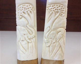 Vintage Hand-Carved African Bone and Iron Wood Salt and Pepper Shakers Elephant Motif Made in Zimbabwe African Art/Souvenir
