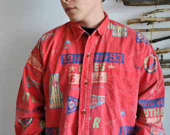 mens vintage shirt 1990s 1980s red colour funny cars print longsleeve buttoms - Cars Pictures To Print