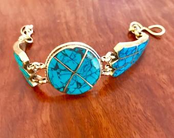 Turquoise bracelet,turquoise jewelry , brass bracelet , ethnic jewelry ,Tibetan bracelet, boho bracelet, bohaimian bracelet, gypsy