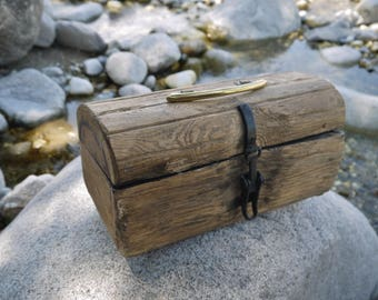 Treasure chest Wooden chest Wooden box  Rustic box  Treasure chest gift box Treasure chest antiques Wooden little chest with a black lock