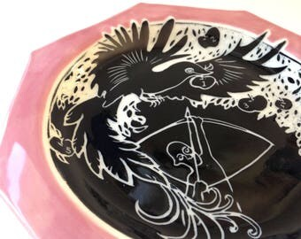 Guarding the Magic Apples Plate - illustrated pottery, bird of paradise, handmade porcelain ceramic dish, hand built platter, pink tableware
