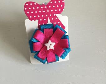 Pink & blue circular hair bow