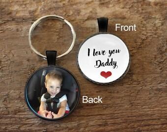 Daddy Key chain, Gift for Dad, Keychain for Daddy, Personalized Key chain, Custom Photo, Photo Keychain, Portrait Key chain, Photograph Key