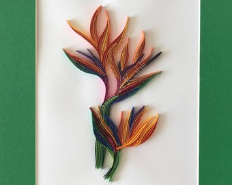 Bird of Paradise Quilling // decorative wall art //Floral home decor // quilling art // bird of Paradise paper filigree