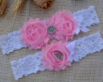 Pink Garter Set, Wedding Pink Garter, Pink Bridal Clothing, Garter Pink, Garter For Brides, Romantic Garter, Lace Garter Set, Pink Keepsake
