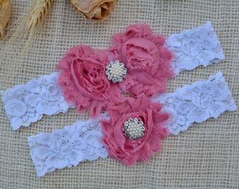 White Garter Set, Pink Bridal Clothing, Dusty Rose Garter, Flower Pink Garter, Gift Wedding, Lace Garter Pink, Garter Set, White Keep Garter