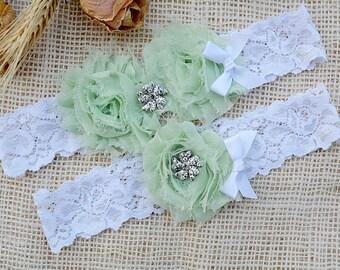 Garter Pale Green, White Mint Garter, Mint Green Garter, Green Keep Garter, Bridal Garter, White Lingerie, Lace Rhinestone, Pearl Garter