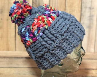 Grey and Multicolor beanie with colorful Pompom- Gift for Her