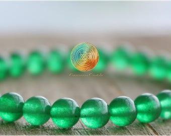 Jade Bracelet, Heart Chakra, 6mm Green Jade Bracelet, Luck, Wealth, Prosperity,healing bracelet,Woman/Man bracelet,Emerald Green,Abundance