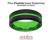 Mens Wedding Band  Tungsten Ring  Black and Green Tungsten  Acid Green  Beveled Edge  Tungsten Wedding Band