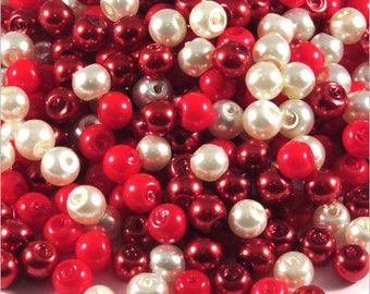 Set of pearly beads 4 mm glass Bohemian mix matched red 1200 pcs