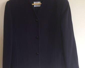 Vintage 1980s Viyella Ladies navy blue jacket size 14