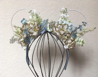 Light Blue Mickey Floral Ears