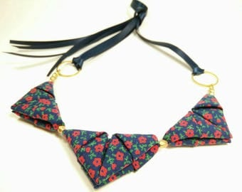 ORIGAMI TRIANGLE NECKLACE - Navy with Red Flower Print Ribbon Tie Necklace
