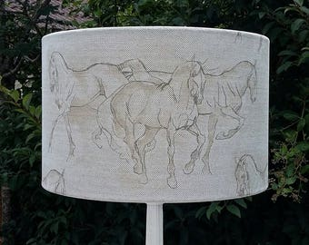 EQUUS - Pendant/Table Drum Lampshade in Lewis & Wood Horse Drawing Design