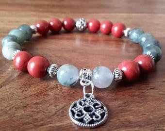 "Bracelet ""Purification"", Jasper, bloodstone, Jasper red stone charm, 19 cm"
