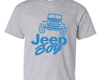Free Shipping! Blue Tees Jeep Boy Humor Trucks Gift for Christmas Birthday Match with Jeans Leggings Hats Unisex Youth Kids T-Shirt Tee Clot