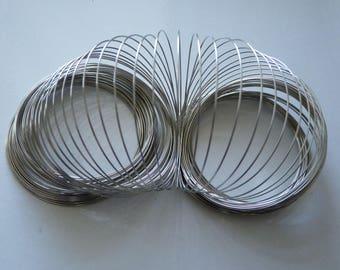 Memory Wire Bracelet, Bracelet Wire, 0.6x60mm White Gold Plated Round Memory Steel Wire, Wire Wrap Bracelet, Beading Wire