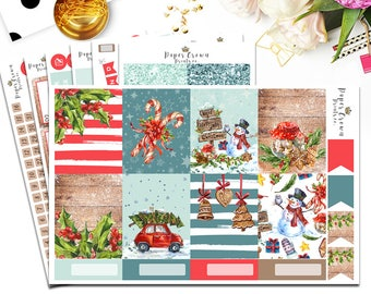 HOLLY JOLLY Planner Stickers for Erin Condren Planner/Weekly Kit/Winter Sticker Set/Holiday Stickers/Functional/Glitter Headers