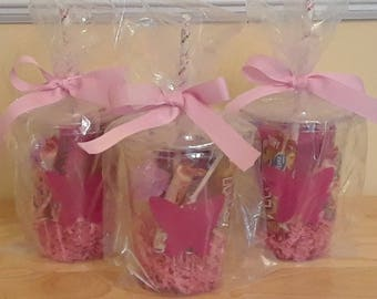 10 Plastic disposable party cups with lids and paper straw
