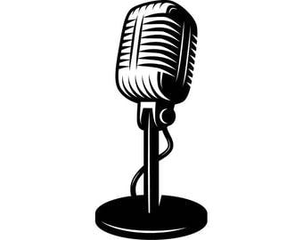 Microphone #1 Audio Sound Recording Record Voice Mic Music Studio Equipment Radio Broadcast Podcast .SVG .EPS .PNG Vector Cricut Cut Cutting