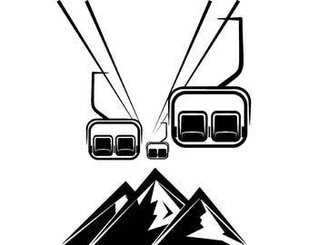 Snow Skiing Lift #3 Chair Snowboarding Helmet Googles Mask Skier Ski Winter Extreme Sport .SVG .EPS .PNG Clipart Vector Cricut Cut Cutting